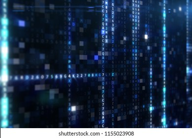 Abstract blue futuristic background of information technology hexadecimal digital data code 3d illustration