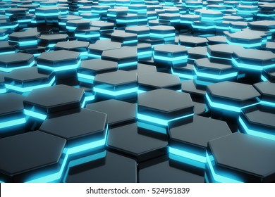 Abstract blue glowing of futuristic surface hexagon pattern. 3D Rendering
