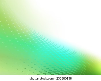 Abstract blue green background template with swirl of dots and plenty of copy space