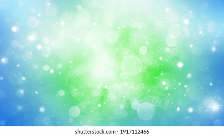 Abstract blue and green spring bokeh background with circles and flashes. Fresh eco concept