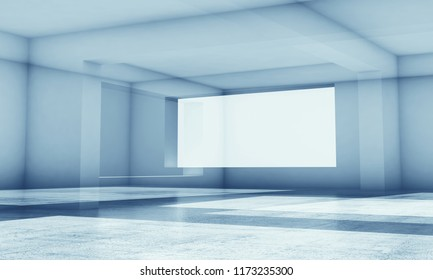 Abstract blue high-tech digital background with shining intersected low-polygonal structures, 3d render illustration with double exposure effect