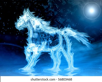 abstract blue horse illustration