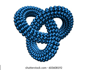 abstract blue infinity object made of many small shiny spheres (3d illustration isolated on white background)