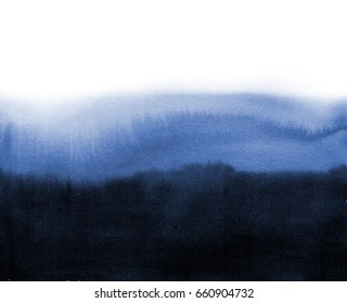 Abstract blue ink wash painting in East Asian style. Grunge texture. Traditional Japanese ink painting sumi-e.