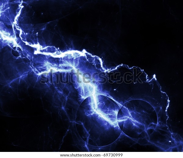 Abstract Blue Lightning Over Black Sky Stock Illustration