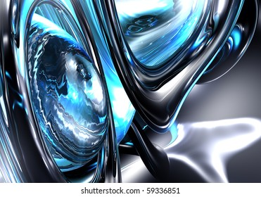Abstract Blue Liquid Metal