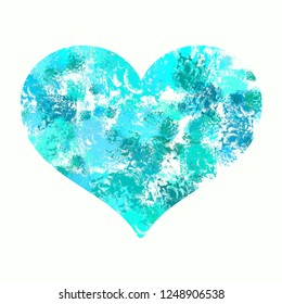 Abstract blue modern graphic Valentine Heart on white background