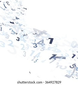 Abstract blue monochrome random numbers swirl or numeral wave. illustration design. Mega data. decoration background.