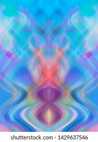 Abstract blue multicolored background with fractal waves. Beautiful illustration.