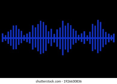 abstract blue music equalizer with black background
