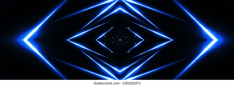 Abstract blue neon background with rays and lines.