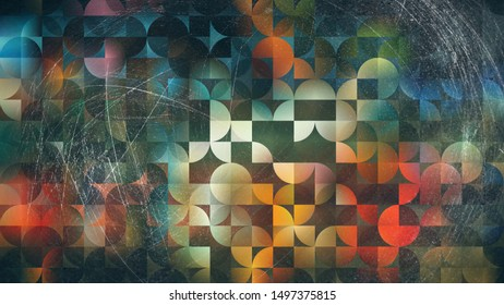 Abstract Blue Orange and Black Quarter Circles Background Image