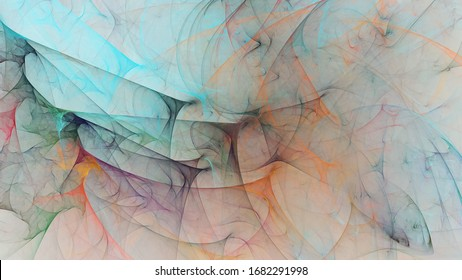 Abstract blue and orange chaotic glass shapes. Colorful fractal background. Digital art. 3d rendering.