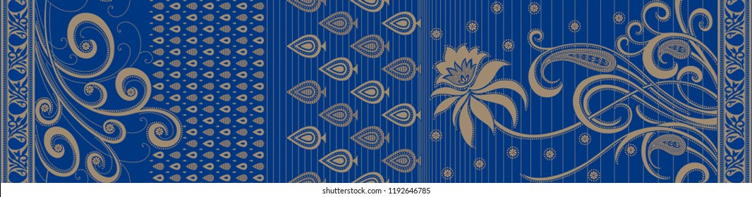 Abstract Blue Paisley Design