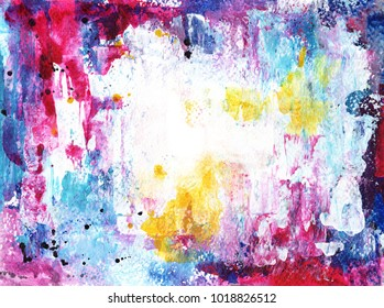 Abstract blue, pink, yellow and white painting on watercolor paper background