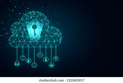 Abstract blue polygonal cloud with key hole background. Cloud computing and web concept. 3D Rendering