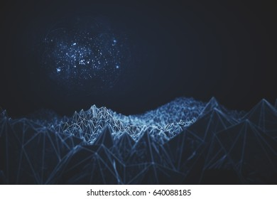 Abstract blue polygonal mountains and bright spot on dark background. 3D Rendering
