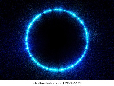 Abstract blue ray circle and black background