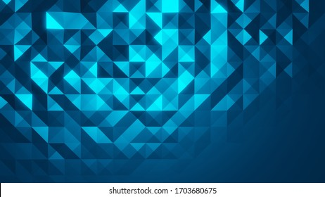 abstract blue shape color background on 3d render polygon background, 3d illustration