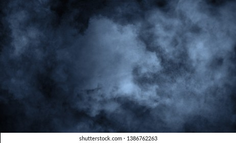 Abstract blue smoke steam moves on a black background . The concept of aromatherapy