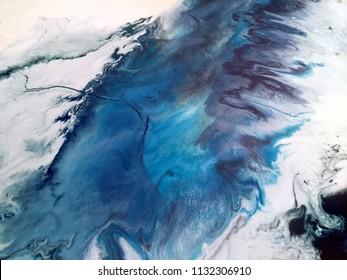 Abstract blue stormy ocean resin art - fluid acrylic painting