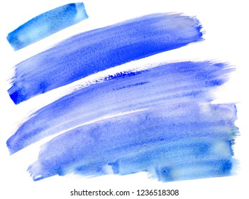 Abstract blue stripes winter watercolor painting on paper background illustration isolated on white
