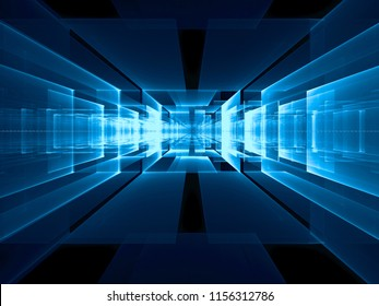 Abstract blue tech background - futuristic data center, portal or tunnel. Computer-generated 3d illustration. Digital art - information and communication or science fiction concept.