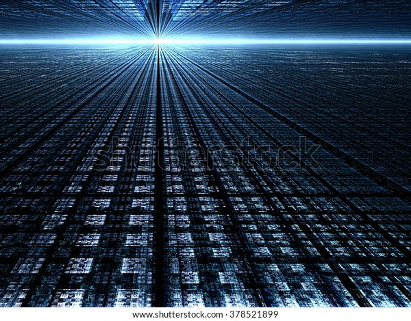 Abstract blue technology background - computer-generated image stretches to the horizon surface with square mesh and light effects. Fractal background for banners, posters, web design and covers