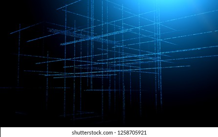 Abstract blue toned background element on black. Composition of grids and matrix patterns. Detailed fractal graphics. Information technology concept.