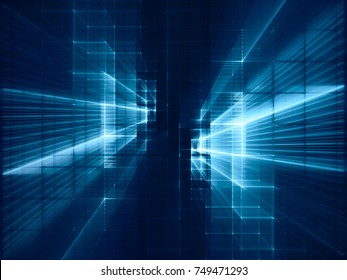 Abstract blue toned background element on black. Symmetry composition of grids and matrix patterns. Detailed fractal graphics. Information technology concept.