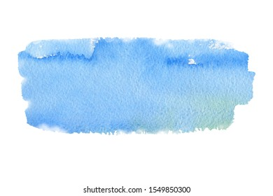 Abstract blue, turquoise watercolor textured background on white isolated background