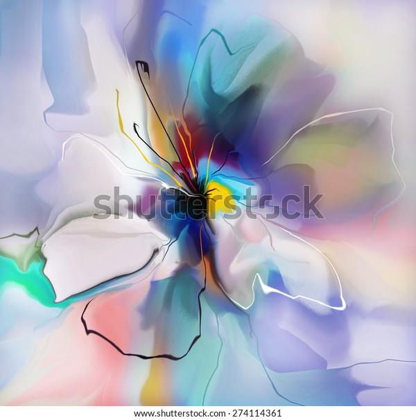 abstract blue violet creative flower custom wallpaper illustration