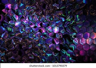 Abstract blue, violet and green hexagonal glass texture. Fractal background. Fantasy digital art. 3D rendering.