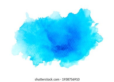 Abstract blue watercolor art hand paint on white paper background