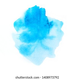 Abstract blue watercolor isolated on white background. Hand drawn watercolour illustration. Vivid art design element, artistic background.