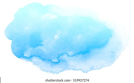 Abstract blue watercolor on white background.The color splashing in the paper.It is a hand drawn.