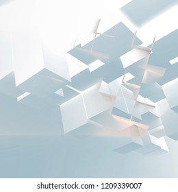 Abstract blue white background with random extruded glowing cubes installation. 3d illustration