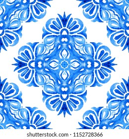Abstract blue and white hand drawn tile seamless ornamental watercolor paint pattern. Elegant luxury texture for fabric and wallpapers, backgrounds and page fill.