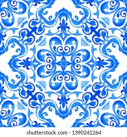 Abstract blue and white hand drawn watercolor tile seamless ornamental pattern. Elegant luxury texture for fabric and wallpapers