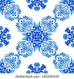 Abstract blue and white hand drawn tile seamless ornamental watercolor paint pattern. Elegant luxury texture for azulejo tiles fabric and wallpapers, backgrounds and page fill.