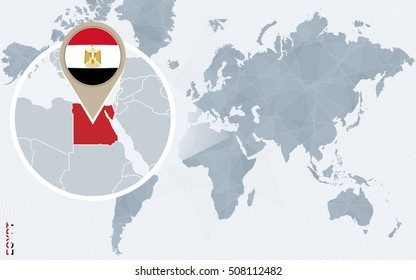 Abstract blue world map with magnified Egypt. Egypt flag and map. Raster copy.