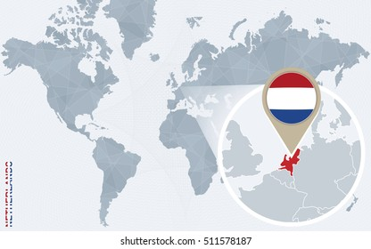 Abstract blue world map with magnified Netherlands. Netherlands flag and map. Raster copy.