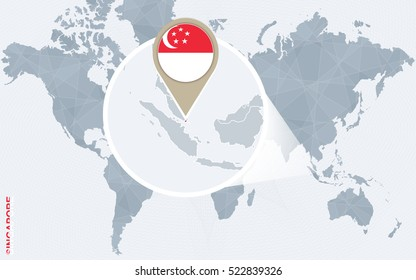 Abstract blue world map with magnified Singapore. Singapore flag and map. Raster copy.