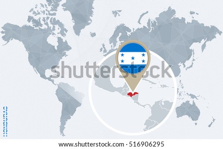 Abstract Blue World Map Magnified Honduras Stock Illustration ...