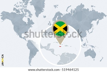 Abstract Blue World Map Magnified Jamaica Stock Illustration ...