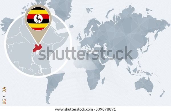 Abstract Blue World Map Magnified Uganda Stock Illustration ...