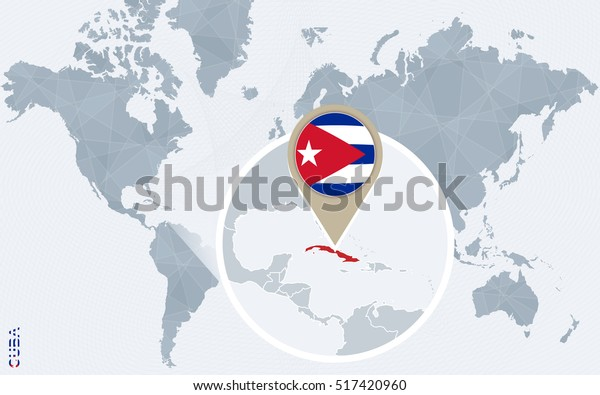 Abstract Blue World Map Magnified Cuba Stock Illustration ...