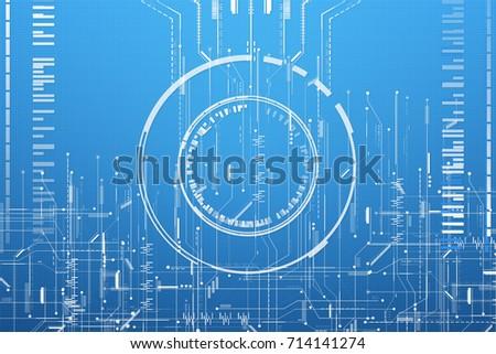 Abstract Blueprint Matrix System Circuit Digital Stock Illustration ...