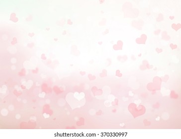 Abstract blur background. pink pastel heart love bokeh valentine's day happy concept; white sparkling rays group soft focus lens view card elements; Glowing corazones light gradient dark wallpaper.