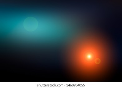 Abstract blurred background and light flash of light. Dark blue, black and purple, orange spot. Web banner.